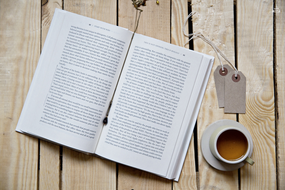 Reading Start With Why by Simon Sinek - Studio Metsä Photography