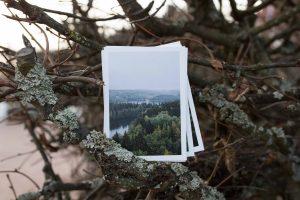 Minimalistiset maisemakuvaus postikortit